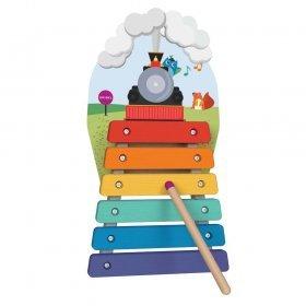 Vertiplay Игрушка на стену - деревянный ксилофон Музыкальное путешествие на поезде